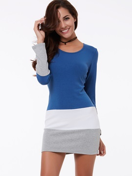 Color Block Round Neck Long Sleeve Dress