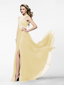 Shining A-Line Jewel Neckline Beading Split-Front Long Evening Dress Designed & Faster Shipping Sale from china