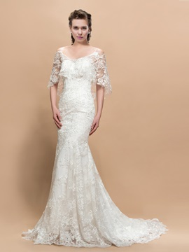 Beautiful Lace Mermaid/Trumpet Half Sleeves Court Train Wedding Dress & fairytale Faster Shipping Sale