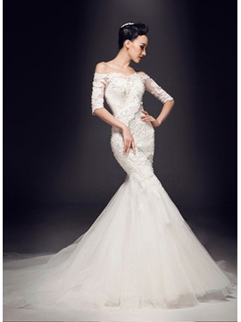 Stunning Off-The-Shoulder Appliques Beadings Half Sleeves Wedding Dress & vintage style Faster Shipping Sale