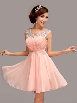 Modern Scoop Neck A-Line Pleats Beading Short Homecoming Dress & romantic Faster Shipping Sale