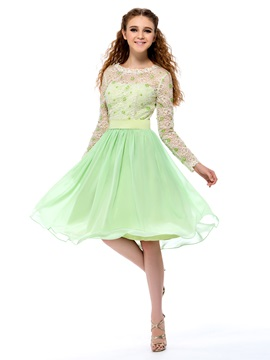 Bright Bateau Neckline Lace Sequins Long Sleeves Knee-Length Homecoming Dress & Faster Shipping Sale 2012