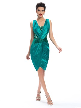 Sheath V-Neck Appliques Ruched Knee-Length Formal Dress & fairytale Faster Shipping Sale