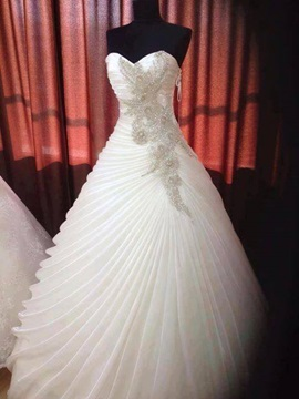 Dazzling Beaded Sweetheart Ruffles Organza A-Line Wedding Dress & Faster Shipping Sale under 300