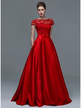 Short Sleeves Appliques Sequins Lace-up Long Evening Dress & Faster Shipping Sale on sale