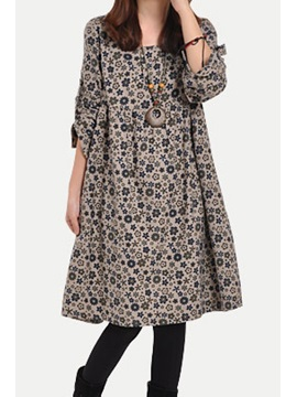 Floral Print Long Sleeve Casual Dress