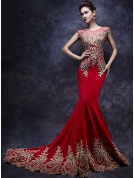 Amazing Mermaid Tulle Neck Appliques Beading Long Evening Dress & cheap Faster Shipping Sale