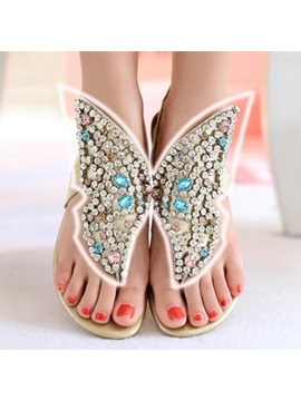 New Unique Rhinestone Genuine Leather Thong Flat Sandals