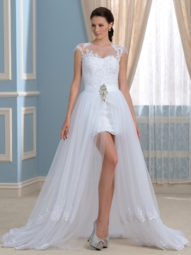 Two-In-One A-Line Crystal Lace Tulle Beach Wedding Dress & Faster Shipping Sale online