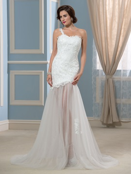 Sexy Sheer Tulle Skirt One-Shoulder Lace Beach Wedding Dress & modern Faster Shipping Sale