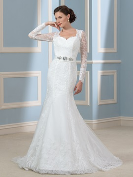 Desinger Beaded Lace Long Sleeve Mermaid Wedding Dress & colored Faster Shipping Sale
