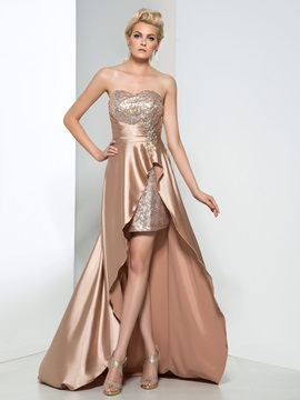 Modern Sweetheart Beading Sequin High Low Prom Dress & formal Faster Shipping Sale