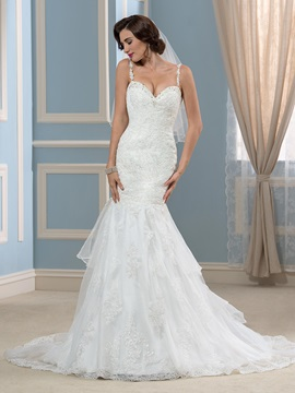 Spaghetti Straps Backless Beaded Lace Mermaid Wedding Dress & Faster Shipping Sale under 100