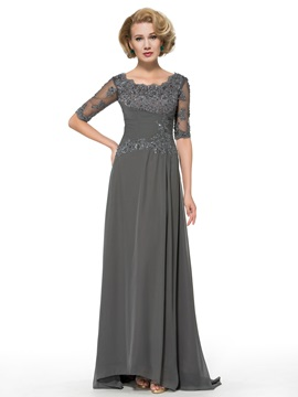 Half Sleeve Appliques Chiffon A-Line Floor-Length Mother of the Bride Dress & petite Faster Shipping Sale