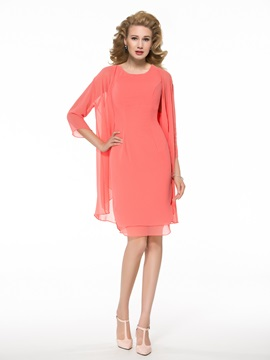 Casual Scoop Knee-Length Mother of the Bride Dress with Jacket/Shawl & Faster Shipping Sale from china