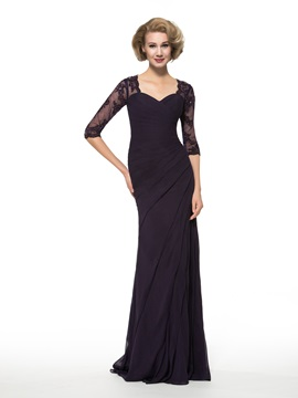 Sheath Appliques Half Sleeve Chiffon Mother of the Bride Dress & colorful Faster Shipping Sale