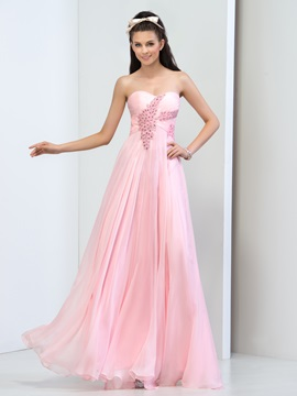 Pretty Sweetheart A-Line Beaded Crystal Long Pink Prom Dress & Faster Shipping Sale online