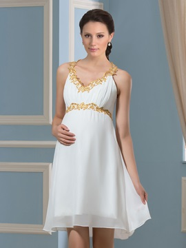 Lace V-Neck Knee-Length Chiffon Short Pregnant Wedding Dress & modest Faster Shipping Sale