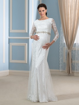 Modern Trumpet/Mermaid 3/4 Length Sleeve Lace Beading Pregnant Wedding Dress & unique Faster Shipping Sale