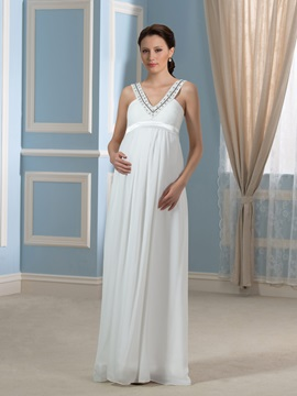 Beading V-Neck Floor-Length Empire Waist Pregnant Wedding Dress & discount Faster Shipping Sale