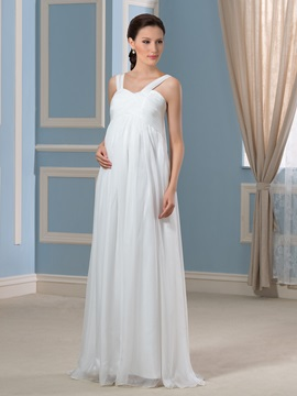 Straps Empire Waist Chiffon Floor-Length Pregnant Wedding Dress & discount Faster Shipping Sale
