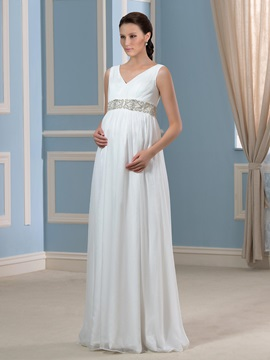 Beaded Floor-Length Chiffon V-Neck A-Line Maternity Wedding Dress & romantic Faster Shipping Sale