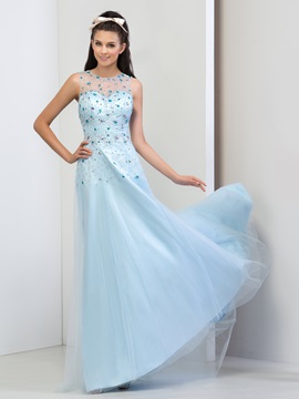 Luxurious Scoop Neck Beaded Crystal A-Line Long Prom Dress & attractive Faster Shipping Sale