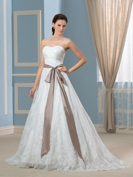 Floor Length A-Line Sweetheart Button Zip-up Court Train Wedding Dress & Faster Shipping Sale under 500