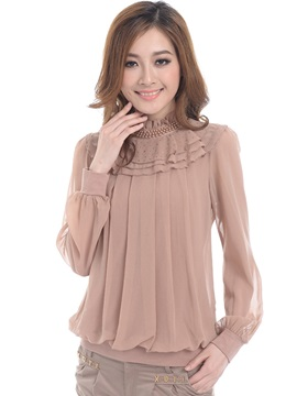 Pure Color Layer Pleated Blouse