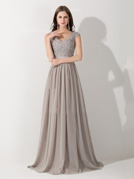 Graceful Straps A-Line Appliques Beading Long Evening Dress & Faster Shipping Sale under 100