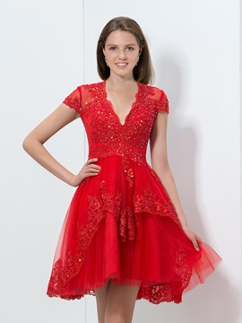 Fancy V-Neck Cap Sleeves Tiered Appliques Sequined Short Red Homecoming Dress & Faster Shipping Sale 2012