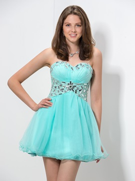A-Line Sweetheart Beaded Empire Waist Short Homecoming Dress & attractive Faster Shipping Sale