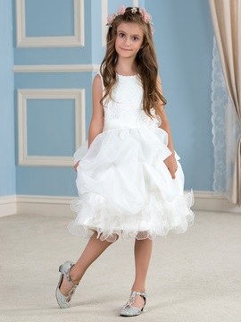 Adorable Lace Top Ruffles Organza Ivory Flower Girl Dress & attractive Faster Shipping Sale