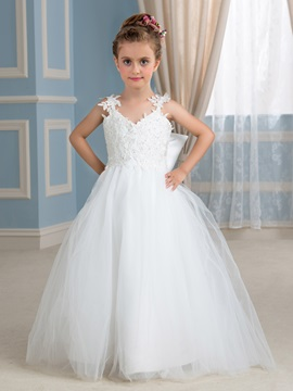Adorable Spaghetti Straps Beaded Lace Appliques Ivory Princess Flower Girl Dress & Faster Shipping Sale under 500