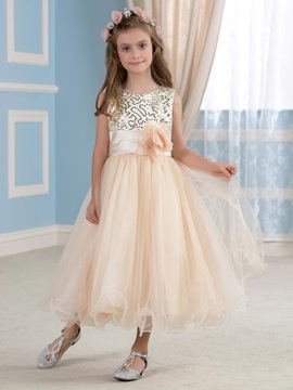 Elegant Sequined Bodice Floral Champagne Flower Girl Dress & Faster Shipping Sale on sale