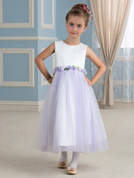 Fancy Floral Waistband Purple Tulle Flower Girl Dress for Toddlers & quality Faster Shipping Sale