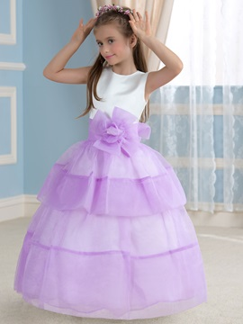Cheap Floral Lilac Princess Flower Girl Dress & affordable Faster Shipping Sale