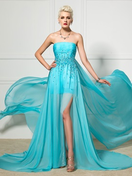Amazing Strapless A-Line Split-Front Beaded Watteau Train Long Evening Dress & Faster Shipping Sale under 300