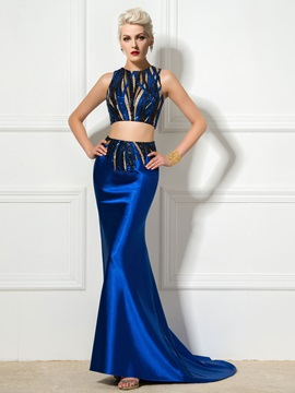Fashionable Two Pieces Jewel Neck Sequined Mermaid Evening Dress & Faster Shipping Sale under 300