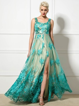 Amazing Square Neckline Straps Appliques A-Line Lace-up Long Evening Dress & fairy Faster Shipping Sale