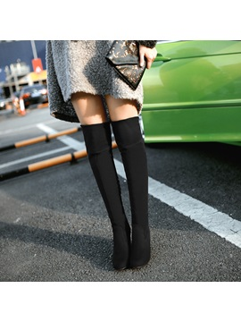 Knee-High Suede Chunky Heel Women's Boots
