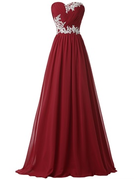 Hot Sale Sweetheart Pleats Appliques Lace-up Long Evening Dress & Faster Shipping Sale online