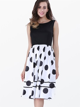 Polk Dots Frill Skater Dress