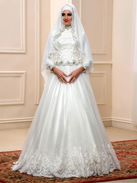 Sequin Beaded Lace Top High Neck Long Sleeve Muslim Wedding Dress & affordable Faster Shipping Sale