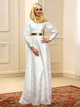 White Lace Long Sleeve Outdoor Muslim Wedding Dress & informal Faster Shipping Sale