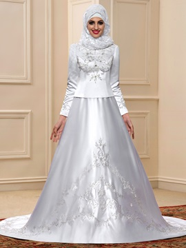 Beaded Embroidered High Neck Long Sleeve White Satin Arabic Wedding Dress & vintage style Faster Shipping Sale