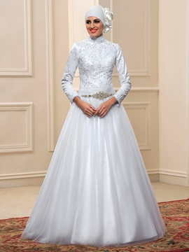 Floor Length A-Line High Neck Long Sleeve White Muslim Wedding Dress & unique Faster Shipping Sale
