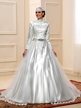 Modest Beaded High Neck Long Sleeve Muslim Plus Size Wedding Dress & modest Faster Shipping Sale