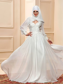 Lace Appliques Sweetheart Ivory Chiffon Outdoor Beach Wedding Dress & Faster Shipping Sale for sale
