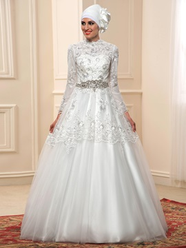 High Neck Beaded Lace Long Sleeve Arabic Muslim Wedding Dress & Faster Shipping Sale under 300